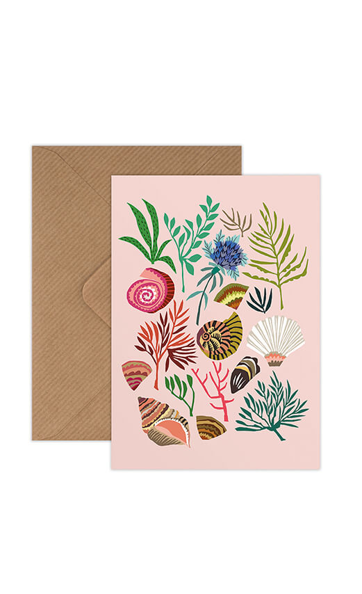 Brie Harrison Shells and Seaweed Greetings Card